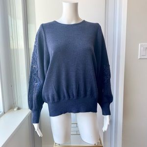 Sequins & Embroidered Balloon Sleeve Navy Sweater